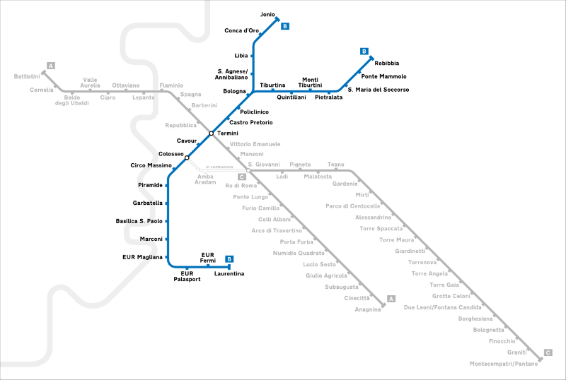Plan Ligne B Metro Rome