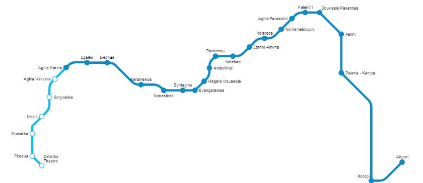 Plan Ligne Métro Bleue Athènes