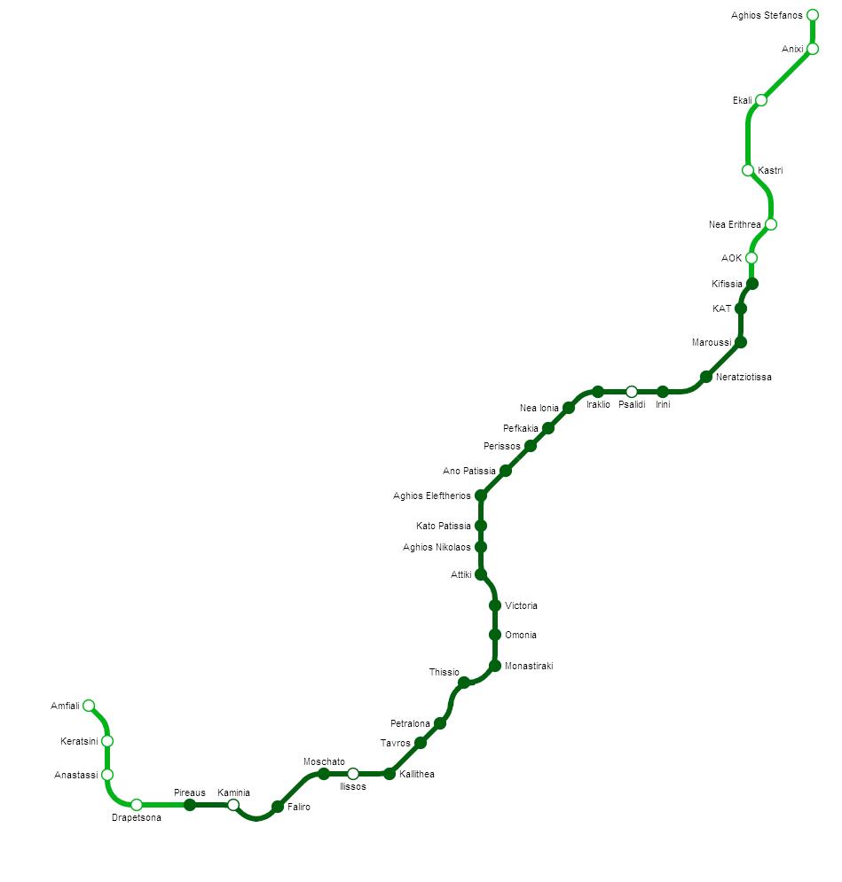 Plan Ligne Verte Metro Athenes