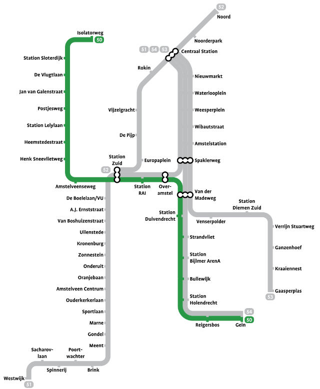 Plan Metro Amsterdam - Ligne 50 (Verte)