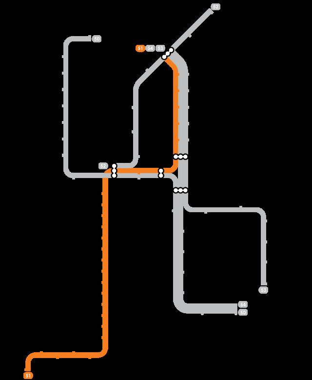 Plan Metro Amsterdam - Ligne 51 (Orange)