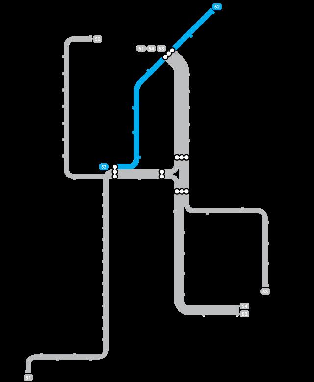 Plan Metro Amsterdam - Ligne 52 (Bleue)
