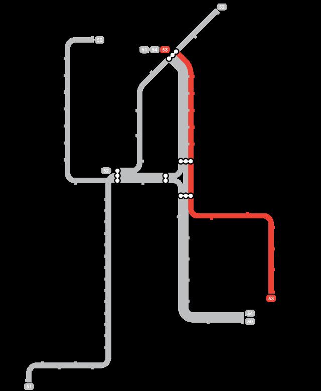 Plan Metro Amsterdam - Ligne 53 (Rouge)