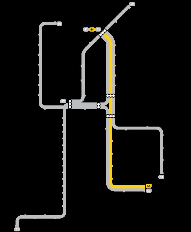 Plan Metro Amsterdam - Ligne 54 (Jaune)