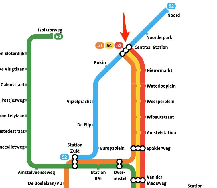 Plan Station Gare Centrale à Amsterdam