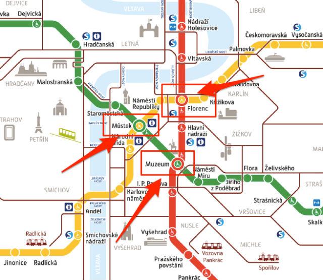 Carte du métro de Prague avec les 3 connections