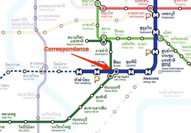 correspondance ligne silom ligne bleu metro bangkok