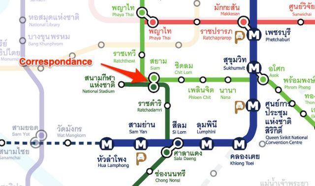 correspondance ligne silom ligne sukhumvit metro bangkok