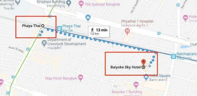 Trajet / Itinéraire de la station de métro Phaya Thai (ligne Sukhumvit Skytrain) à l'Observatoire Baiyoke