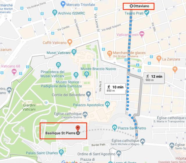 Trajet / Itinéraire de la station de métro Ottaviano S.Pietro à la Basilique Saint Pierre