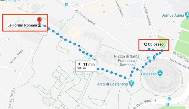 Trajet / Itinéraire de la station de métro Colosseo (ligne B) au Forum Romain