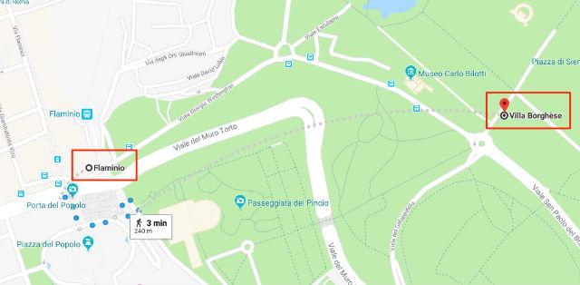 Trajet / Itinéraire de la station de métro Flaminio (ligne A) à la Villa Borghèse