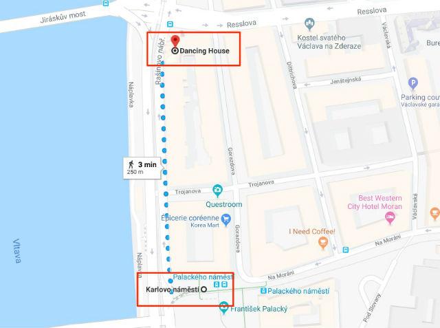 Trajet / Itinéraire de la station de métro Karlovo náměstí (ligne B) à la Maison Dansante