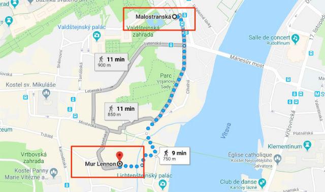 Trajet / Itinéraire de la station de métro Malostranská (ligne A) au Mur Lennon
