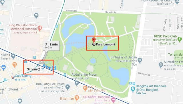 Trajet / Itinéraire de la station de métro Si Lom (ligne Bleue MRT) au Parc Lumpini