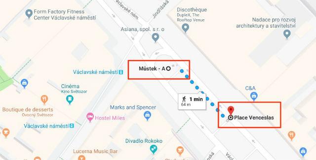 Trajet / Itinéraire de la station de métro Mustek (ligne A) à la Place Venceslas