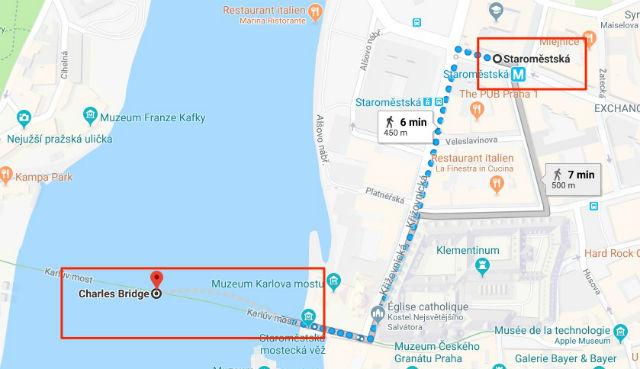 Trajet / Itinéraire de la station de métro Staroměstská (ligne A) au Pont Charles