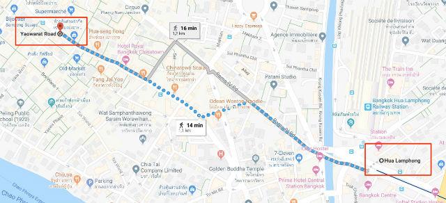 Trajet / Itinéraire de la station de métro Hua Lamphong (ligne Bleue MRT) au Quartier Chinois