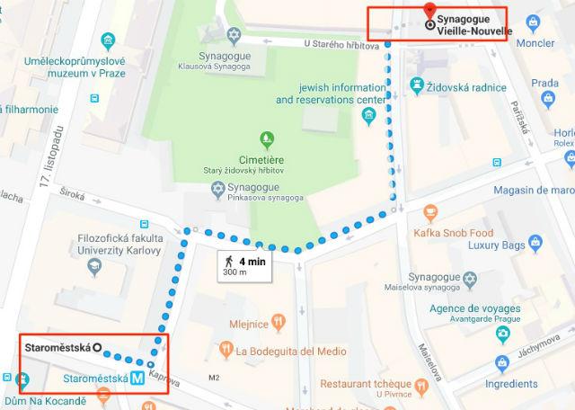 Trajet / Itinéraire de la station de métro Staroměstská (ligne A) au Quartier Juif