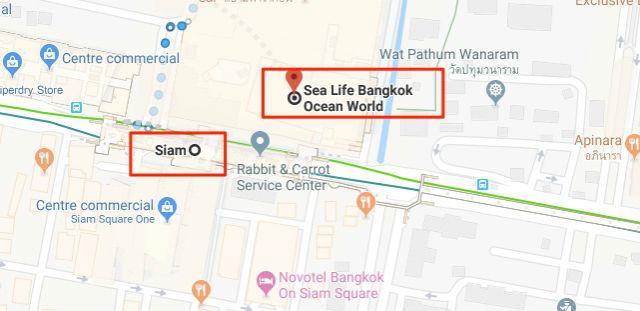 Trajet / Itinéraire de la station de métro Siam (ligne Silom Skytrain) au Sea Life