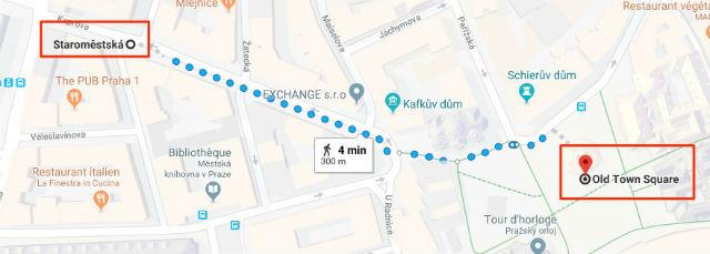 Trajet / Itinéraire de la station de métro Staroměstská (ligne A) à la Place de la Vieille Ville