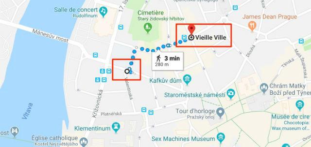 Trajet / Itinéraire de la station de métro Staroměstská (ligne A) à la Vieille-Ville