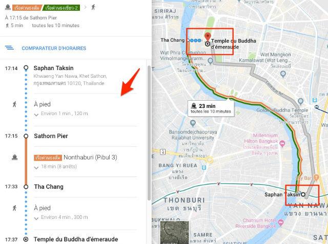 Trajet / Itinéraire de la station de métro Saphan Taskin (Ligne Sukhumvit Skytrain) au Palais Royal & Wat Phra Kaew