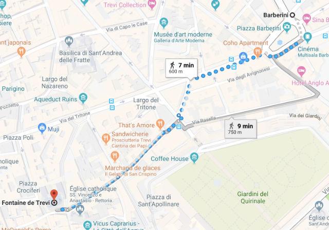 Trajet / Itinéraire de la station de métro Barberini (ligne A) à la Fontaine de Trevi