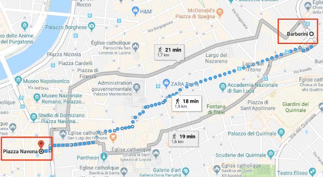 Trajet / Itinéraire de la station de métro Barberini (ligne A) à la Place Navone