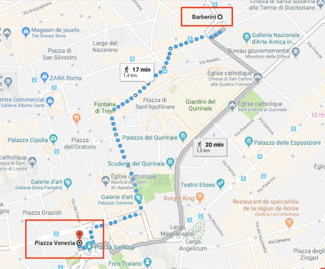 Trajet / Itinéraire de la station de métro Barberini (ligne A) à la Place de Venise