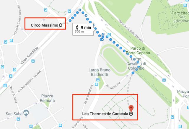 Trajet / Itinéraire de la station de métro Circo Massimo (ligne B - B1) aux Thermes de