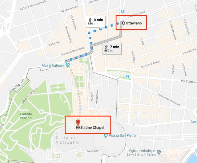 Trajet / Itinéraire de la station de métro Ottaviano (ligne A) à la Chapelle Sixtine