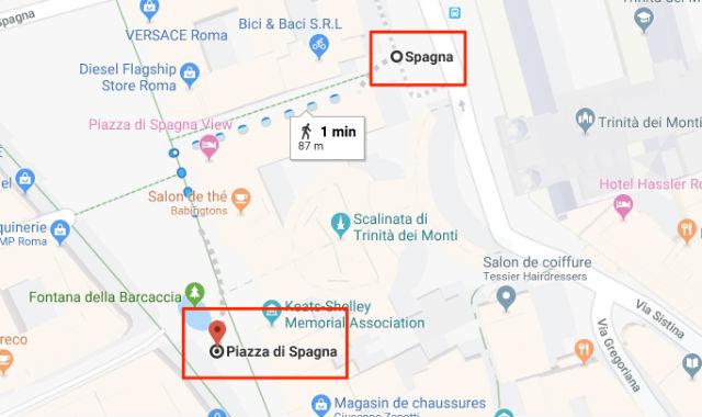 Trajet / Itinéraire de la station de métro Spagna (ligne A) à la Place d'Espagne