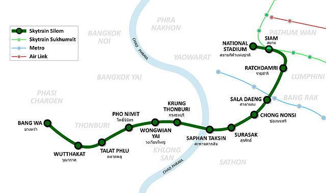 Plan de la ligne Silom du métro aérien de Bangkok (Skytrain)