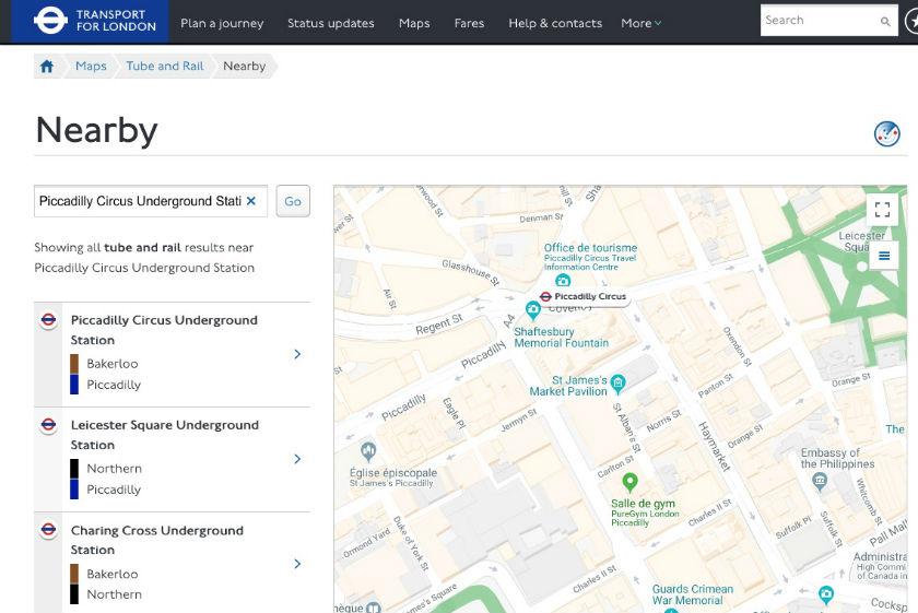 Carte interactive du métro de Londres
