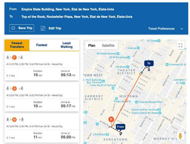 Fonctionnalité itinéraire Metro New York