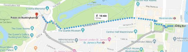 Itinéraire depuis Big Ben jusqu'à Buckingham Palace