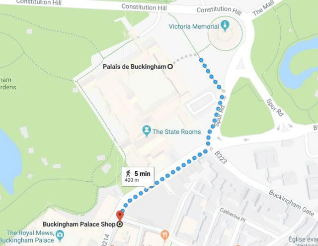 Itinéraire depuis le Palais jusqu'à la boutique officielle Buckingham Palace