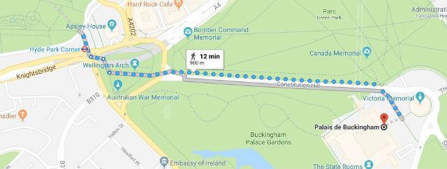 Itinéraire depuis Hyde Park jusqu'à Buckingham Palace