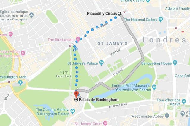 Itinéraire depuis Piccadilly jusqu'au château de la Reine