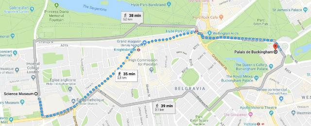 Itinéraire du Science Museum jusqu'au Palais de Buckingham