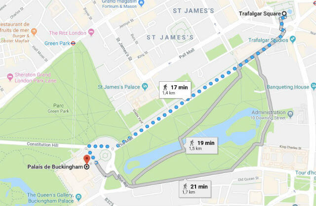Itinéraire depuis Trafalgar Square jusqu'à Buckingham Palace
