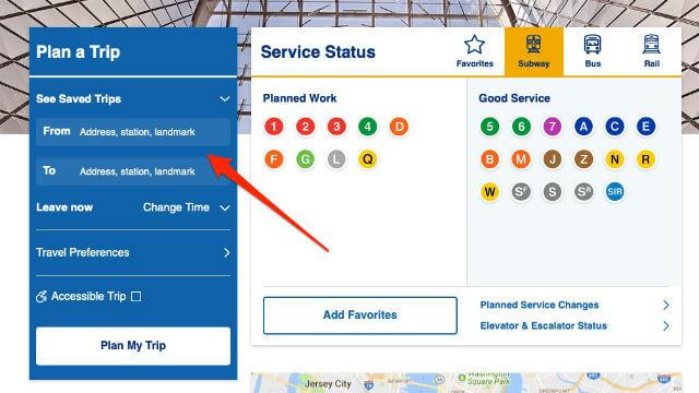 Fonctionnalité Plan Your Trip Metro New York