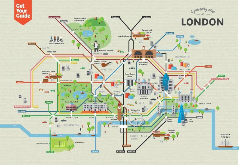 Plan du métro de Londres avec les monuments