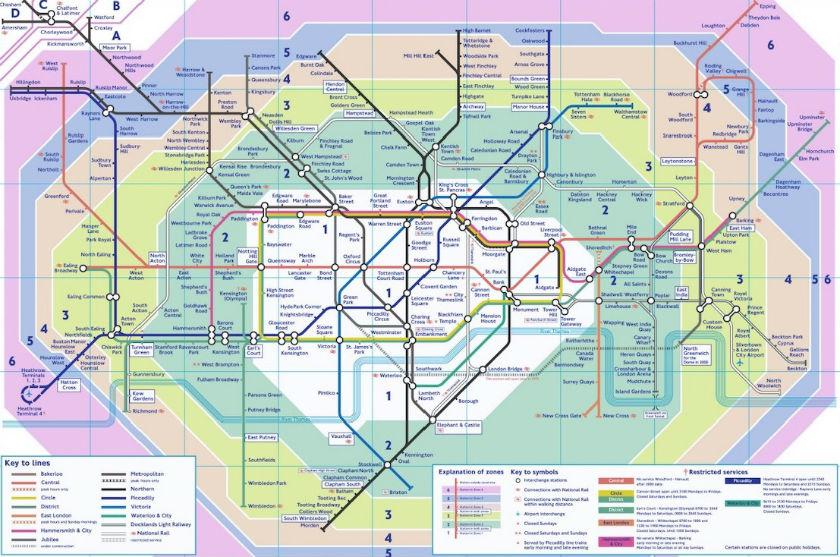 Plan Metro Londres Zone