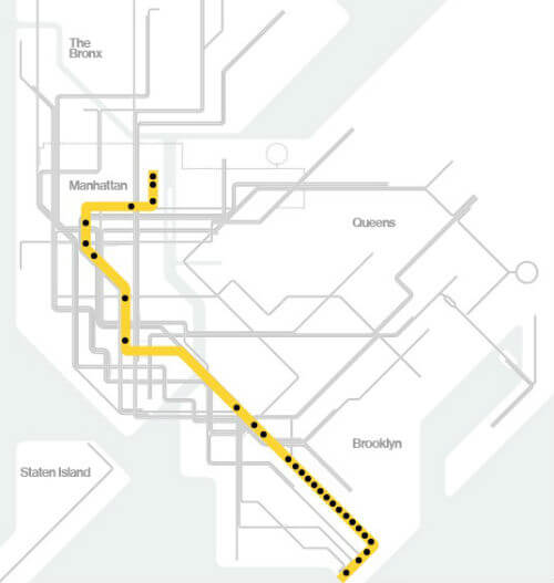 Plan Metro New York Ligne Q