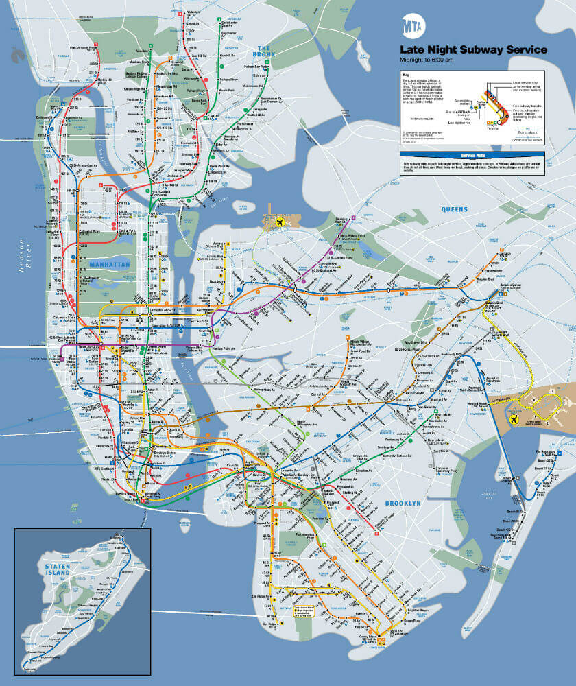 Plan / Carte Metro New York la Nuit