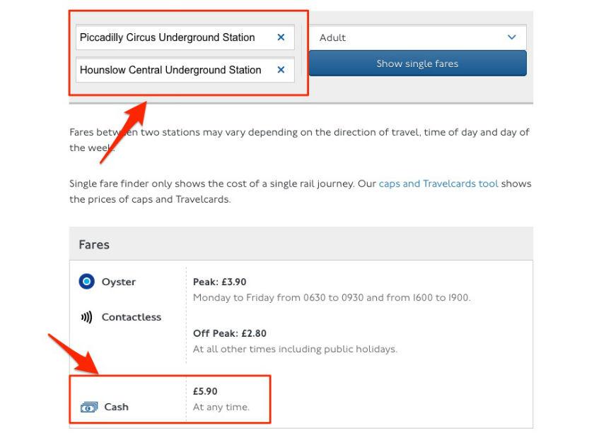 Outil pour calculer le prix du métro de Londres en fonction des zones traversées
