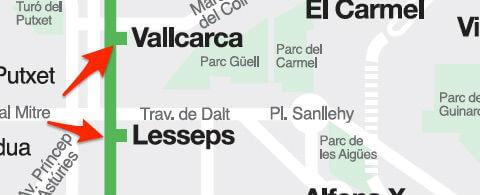 Plan avec exemples stations métro Barcelone