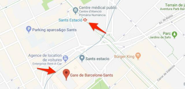Plan Metro Barcelone Gare